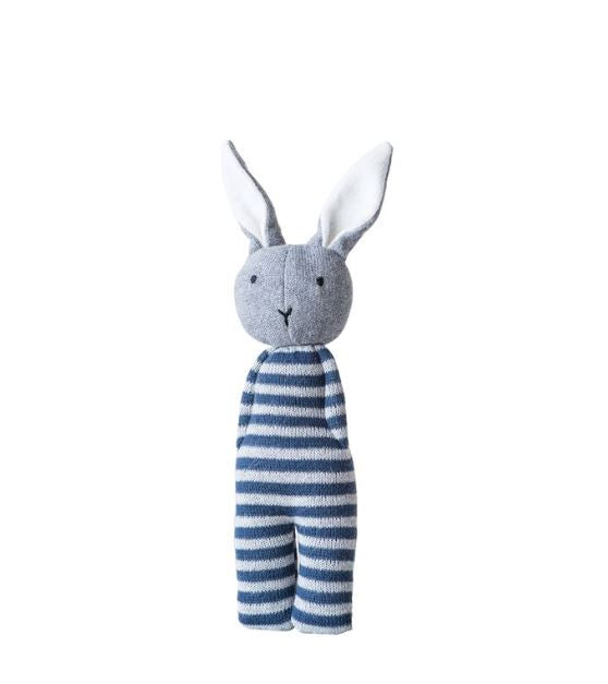 Blue & White Striped Cotton Knit Bunny Rattle