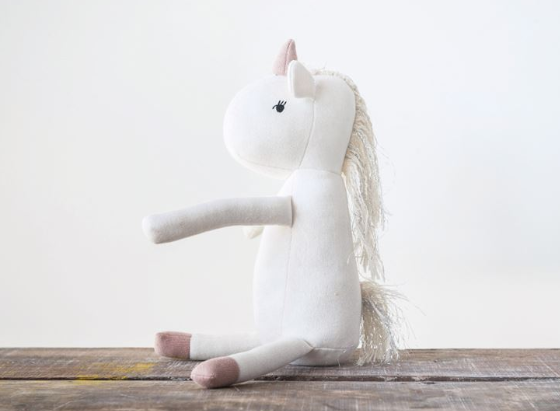 White Cotton Knit Unicorn