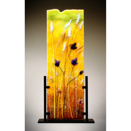 Flowers in the Wheat Field Grass Frit Painting