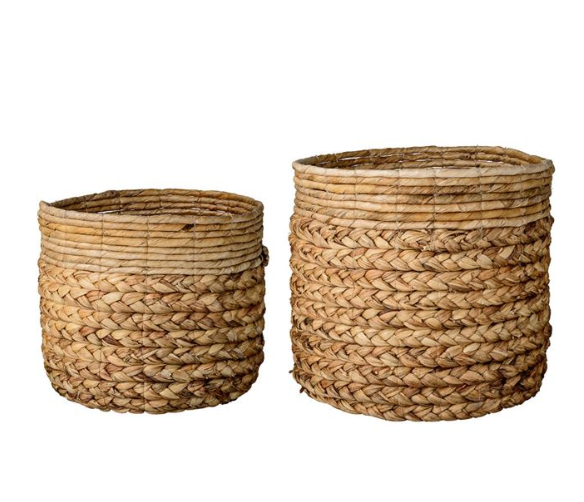 Natural Water Hyacinth & Banana Leaf Baskets - 2 Sizes