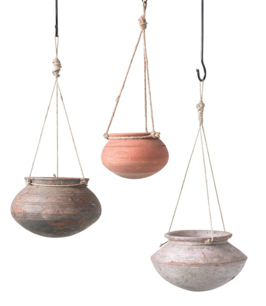 Hanging Clay Pot with Jute Hanger