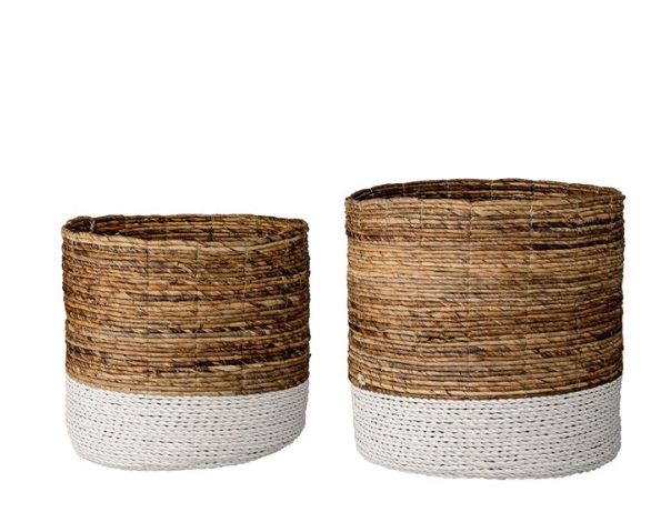 Natural Raffia & Banana Leaf Baskets - 2 Sizes