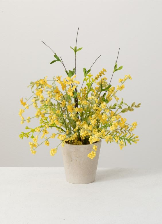 Faux Potted Yellow Wispy Bouquet