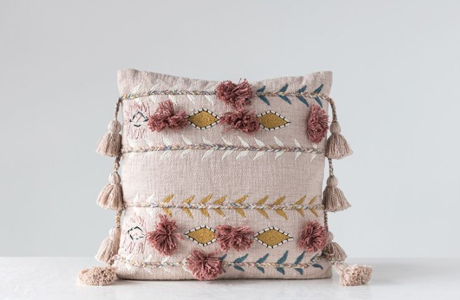 Embroidered Pillow with Tassels & Applique - 2 Colors