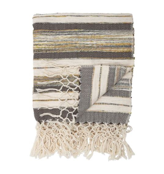 Hand-Woven Cotton Blend Textured Throw w/ Stripes & Fringe, Multi-Color