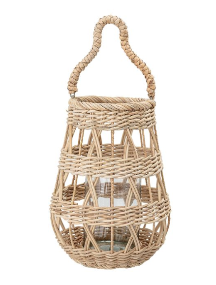 "Rattan Lantern with Handle & Glass Insert (Holds 3"" Pillar)"