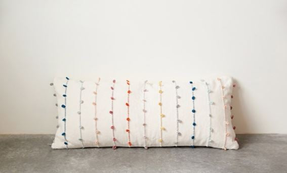 Cotton Pillow with Multi Color Embroidery Loop