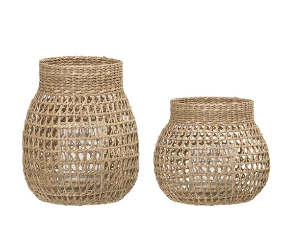 Natural Seagrass Lanterns with Glass Insert - 2 Sizes