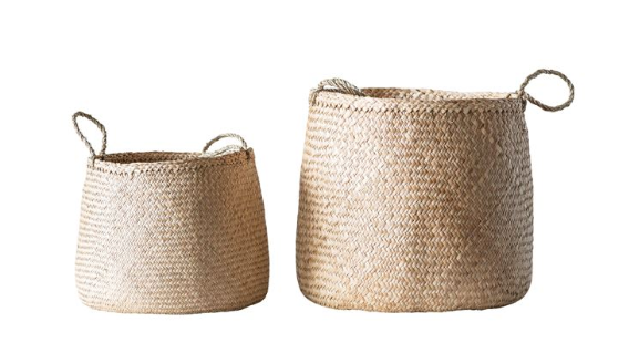 Natural Woven Seagrass Baskets with Handles - 2 Sizes