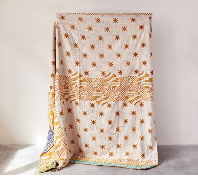 Cotton Vintage Kantha Quilt Coverlet