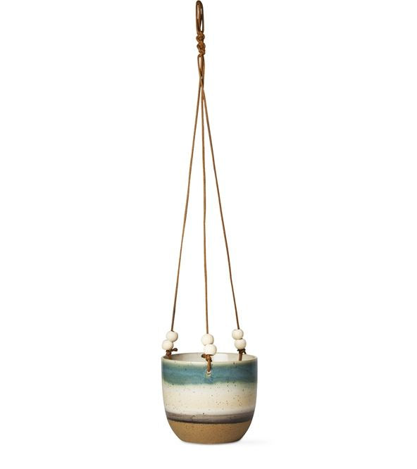 Dune Stoneware Hanging Striped Planter