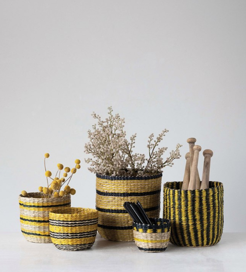 Hand-Woven Seagrass Striped Baskets Yellow & Black - 5 Sizes