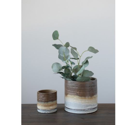 Stoneware Planter, Reactive Glaze, Brown & White Ombre - 2 Sizes