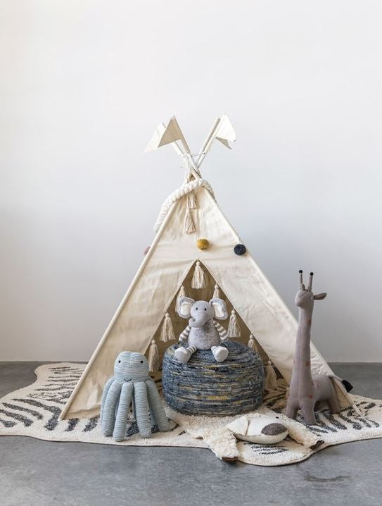 Canvas & Metal Tepee with Tassels, Natural