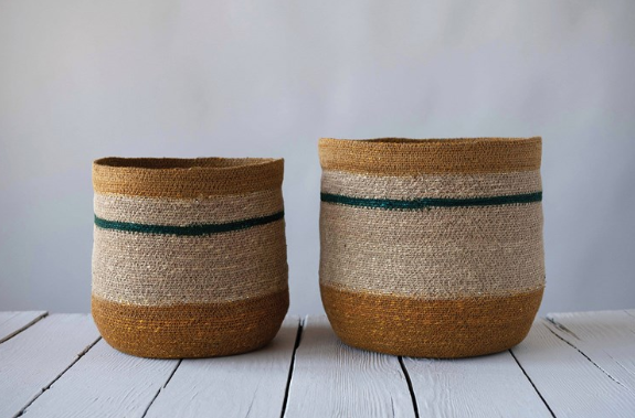 Woven Natural Seagrass Striped Baskets Multi Color - 2 Sizes