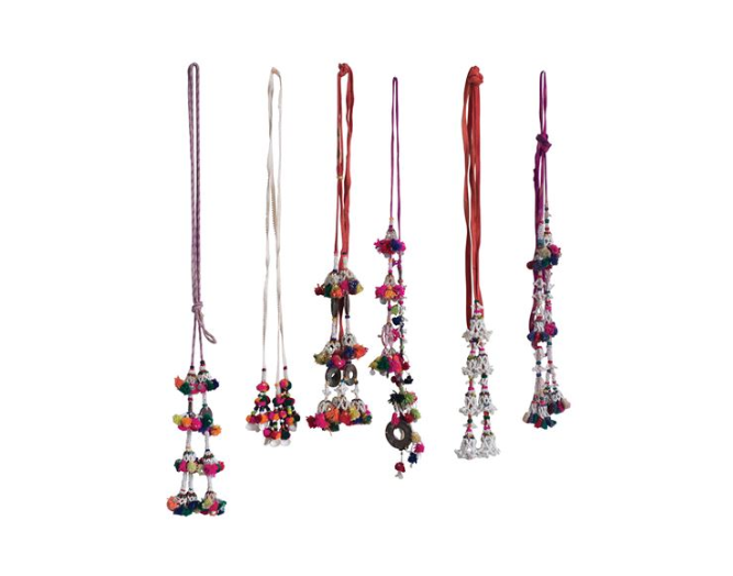 Found Hand-Beaded Cotton Tassel Camel Adornments