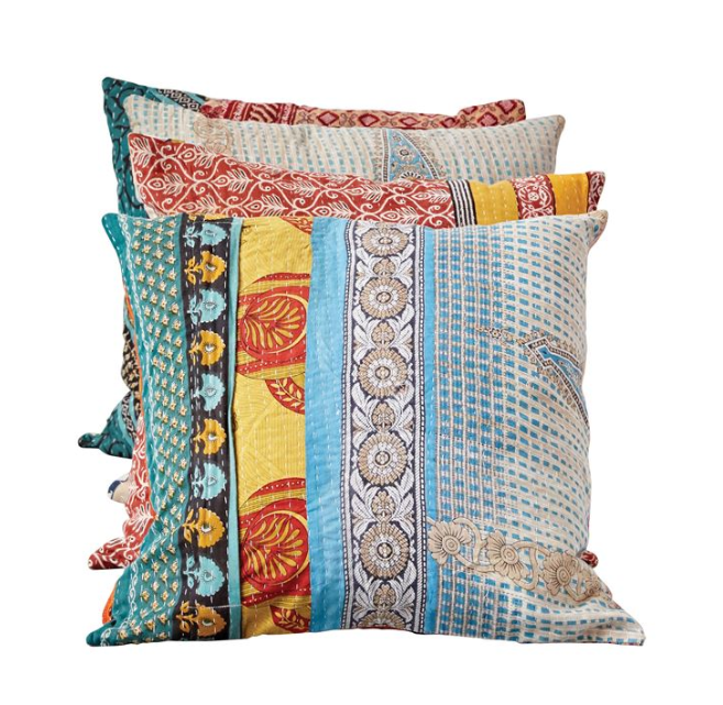 "20"" Square Cotton Vintage Kantha Quilt Pillow"