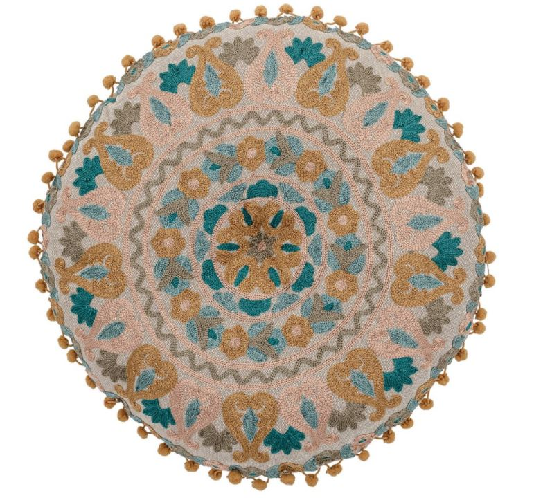 Round Cotton Embroidered Pillow with Pom Poms, Multi Color