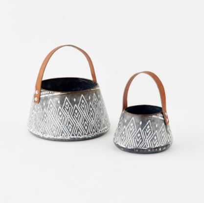 Patterned Metal Baskets - 2 Sizes