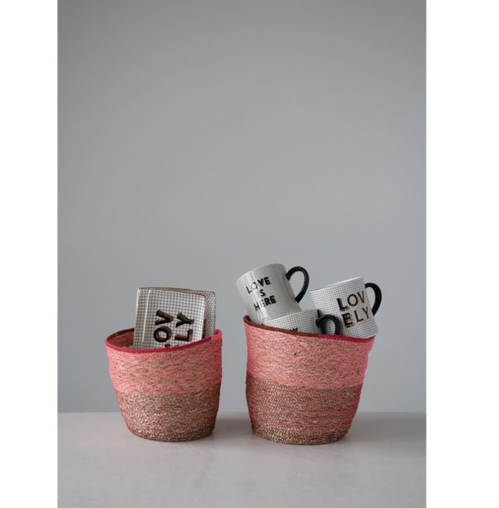 Hand-Woven Seagrass Baskets with Pink & Red Stitching - 2 Sizes