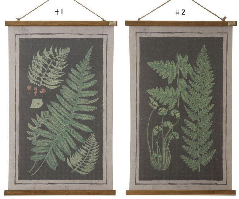 Canvas & Wood Scroll Wall Decor with Fern Fronds & Jute Rope - 2 Styles