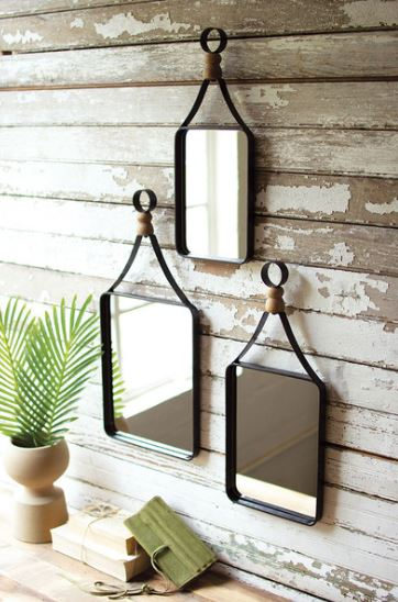Metal Framed Mirrors with Wood Ball Detail