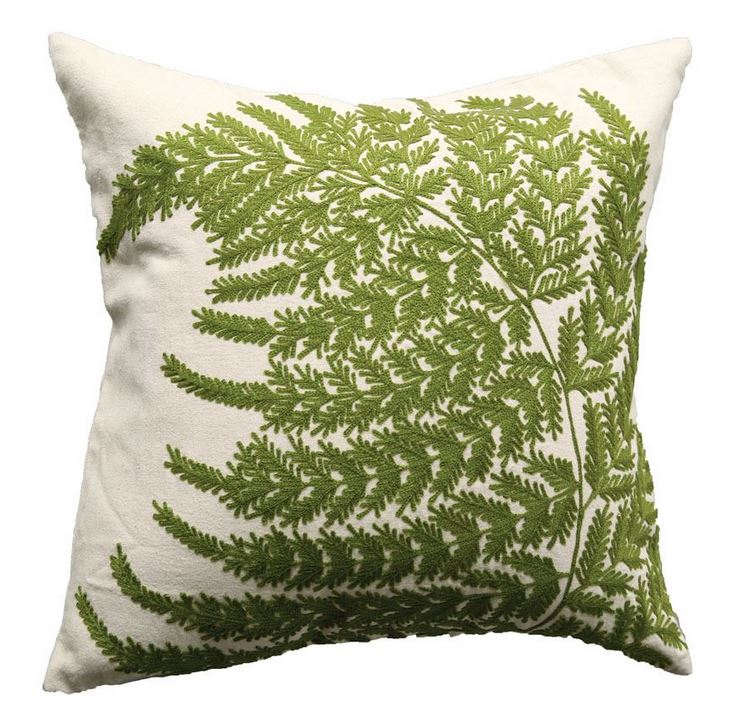 Cotton Pillow with Fern Fronds Embroidery