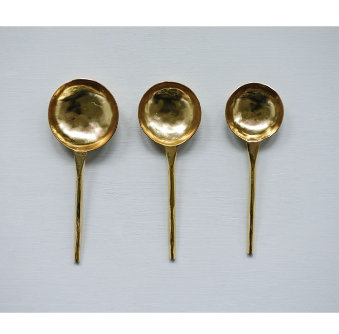 Set of 3 Stainless Steel Spoons/Scoops with Gold Finish