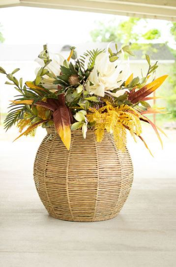Large Round Woven Seagrass Planter