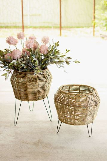 Round Seagrass Planters on Iron Stands
