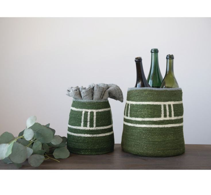 Hand-Woven Seagrass Baskets, Green with White Stripes = 2 Sizes