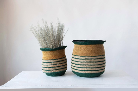 Hand-Woven Seagrass Striped Baskets - 2 Sizes