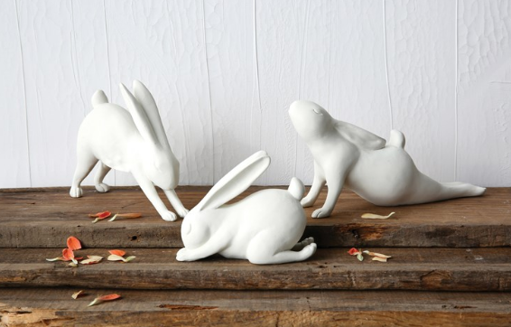 White Resin Yoga Rabbit - 3 Styles