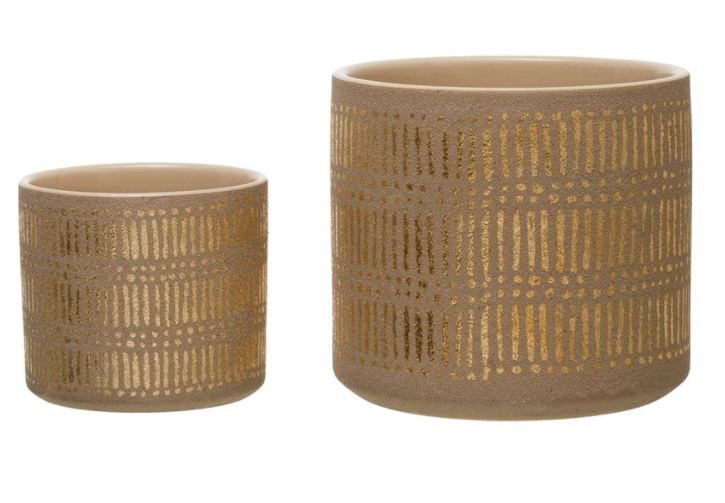 Stoneware Planters with Gold Design, Sand Color - 2 Sizes