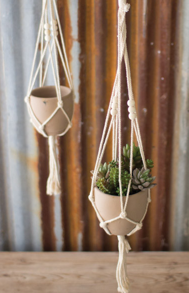 Cotton Macrame Hanger with Clay Pot