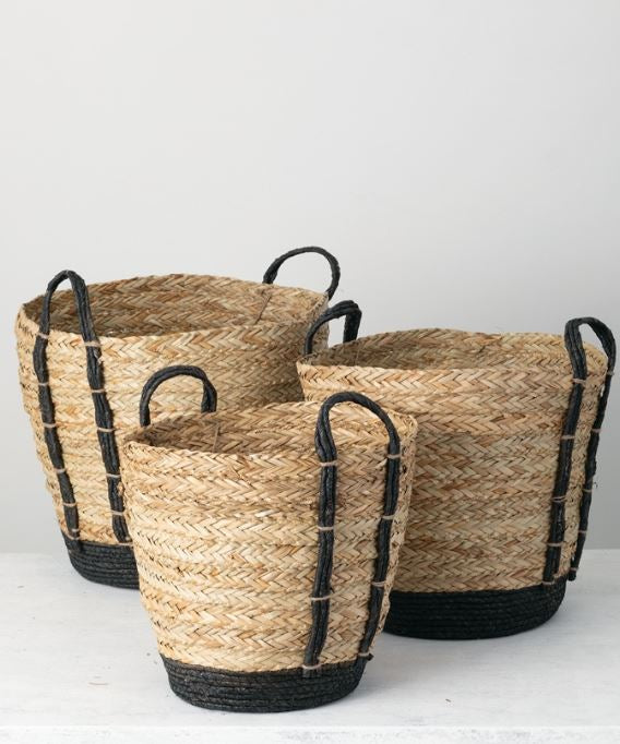 Natural & Black Woven Baskets - 3 Sizes