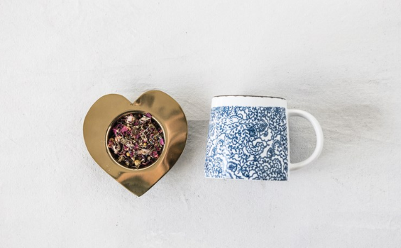Stainless Steel Heart Tea Strainer with Brass Finish