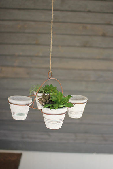 Set of 4 Hanging White Washed Pots on Copper Finish Rack