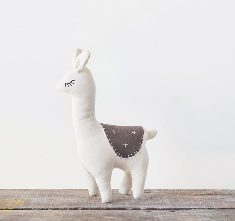 White & Brown Cotton Knit Llama