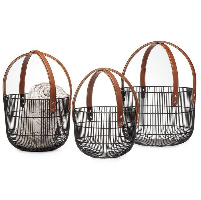 Mission Wire Faux Leather Handle Baskets - 3 Sizes