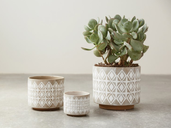Geometric Stoneware Pot - 3 Sizes