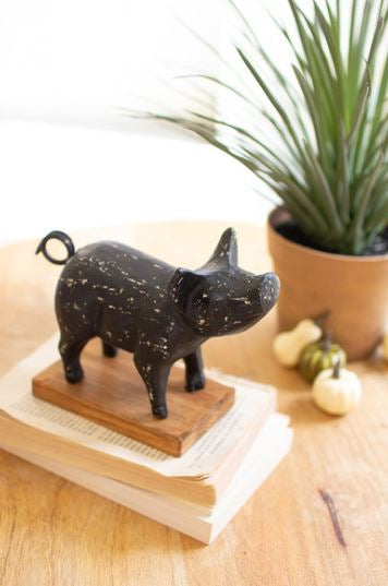 Cast Iron Pig on a Wood Base