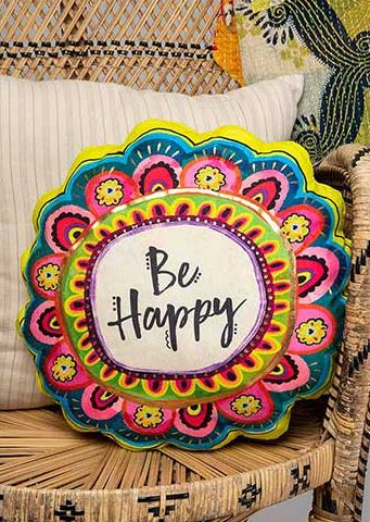 Be Happy Flower Pillow
