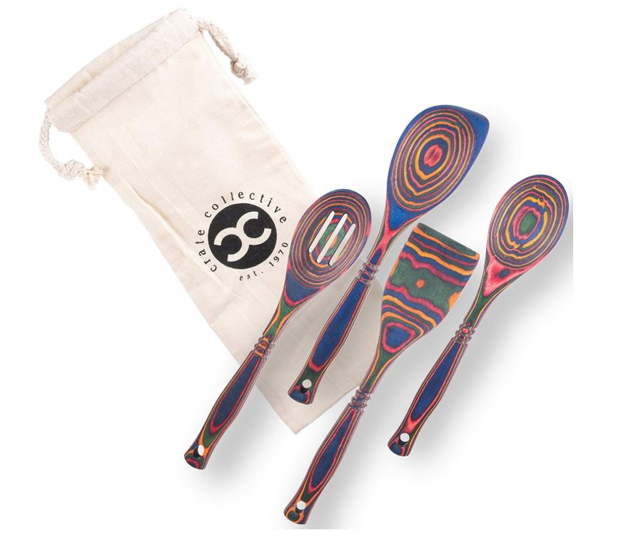 Pakkawood Wooden Utensils - 3 Colors/4 Styles