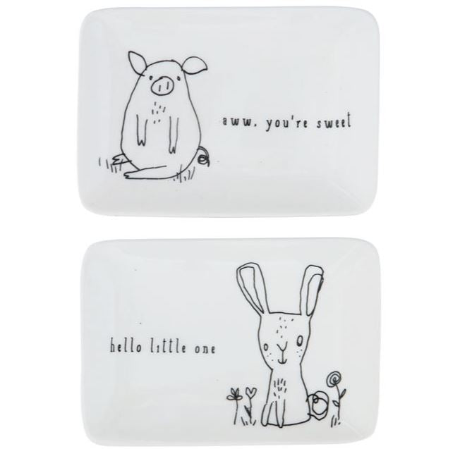 Stoneware Dish with Animals - 2 Styles