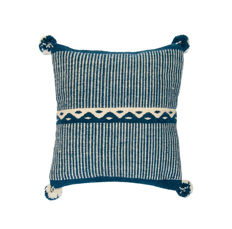 "16"" x 16"" Mountains Pillow Cover - Blue & White"