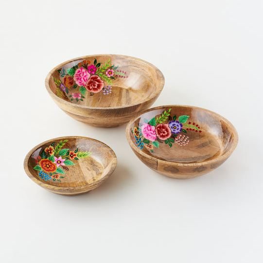 Floral Handpainted Wood Bowl - 3 Sizes