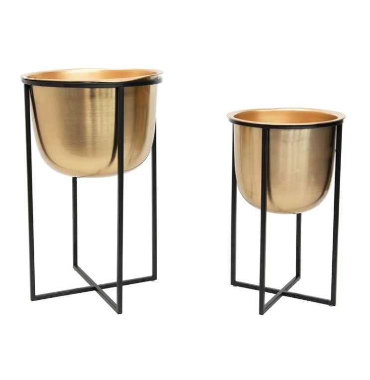 Gold Metal Planters with Black Stands - 2 Sizes