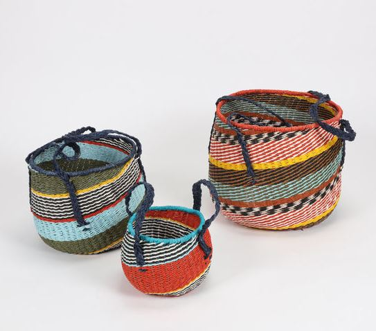 Set of 3 Nested Recycled Paper Barrel Handled Basket