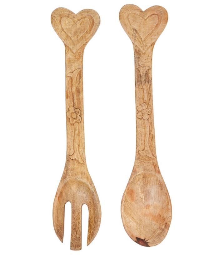 Hand-Carved Mango Wood Salad Servers with Heart Handle, Set of 2